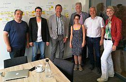 V.l.n.r. Johan Rooze, Pepijn Lagerwey, Erik Demarbaix, Lieselotte Goessens, Hilbrand Adema, Koenraad de Meulder en Léontine van Duin.